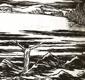 NA KONCI ZEMĚ. 1939. Dřevoryt FRANTIŠEK KOBLIHA. Podpis autora.