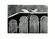 Signovaný dřevoryt * Holubičky na mostním oblouku