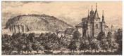 Slaný, klášter - litografie