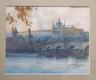 Pražský hrad s Karlovým mostem (akvarel)